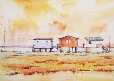 cabanes dans les salicornes à l'ayrolle